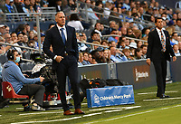 KANSAS CITY, KS - MAY 29: Sporting KC coach Peter Vermes and Houston Dynamo FC coach Tab Ramos watch their teams in action during a game between Houston Dynamo and Sporting Kansas City at Children's Mercy Park on May 29, 2021 in Kansas City, Kansas.