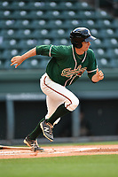 Designated hitter Walker Olis (31) of the Greensboro Grasshoppers runs toward first in a game against the Greenville Drive on Tuesday, April 25, 2017, at Fluor Field at the West End in Greenville, South Carolina. Greenville won, 5-1. (Tom Priddy/Four Seam Images)