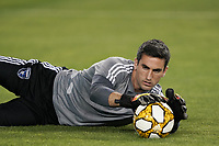 SAN JOSE, CA - SEPTEMBER 25: Andrew Tarbell of the San Jose Earthquakes  during warmups prior to a Major League Soccer (MLS) match between the San Jose Earthquakes and the Philadelphia Union on September 25, 2019 at Avaya Stadium in San Jose, California.