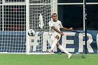 FOXBOROUGH, MA - AUGUST 5: Shermaine Martina #21 of North Carolina FC takes a goal kick during a game between North Carolina FC and New England Revolution II at Gillette Stadium on August 5, 2021 in Foxborough, Massachusetts.