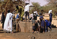 Akadaney, Central Niger, West Africa.  Fulani Nomads at the Well.  Annual Gathering, Geerewol.