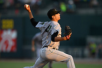 Pitcher JJ Santa Cruz (41) of the Augusta GreenJackets delivers a pitch in a game against the Columbia Fireflies on Saturday, June 1, 2019, at Segra Park in Columbia, South Carolina. Columbia won, 3-2. (Tom Priddy/Four Seam Images)