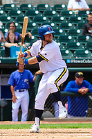 Iowa Cubs catcher Taylor Davis (19) at bat during a Pacific Coast League game against the Colorado Springs Sky Sox on June 23, 2018 at Principal Park in Des Moines, Iowa. Colorado Springs defeated Iowa 4-2. (Brad Krause/Four Seam Images)