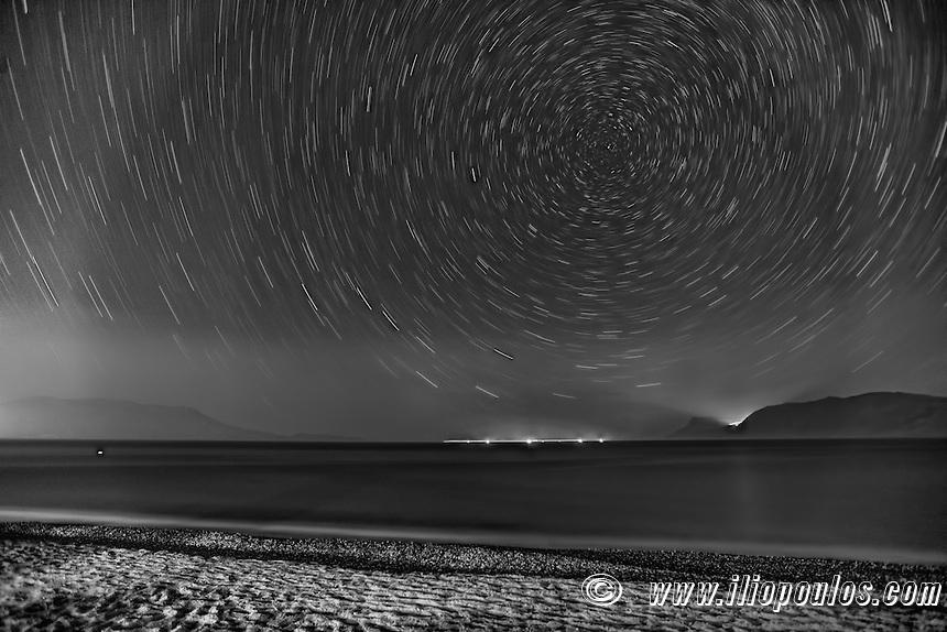 Star Trails around Polaris (North Star) from Crete, Greece