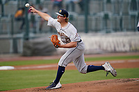 Pitcher Cole Wilcox (25) of the Charleston RiverDogs in a game against the Columbia Fireflies on Tuesday, May 11, 2021, at Segra Park in Columbia, South Carolina. (Tom Priddy/Four Seam Images)