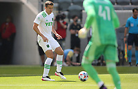 LOS ANGELES, CA - APRIL 17: Matt Besler #5 of Austin FC during a game between Austin FC and Los Angeles FC at Banc of California Stadium on April 17, 2021 in Los Angeles, California.