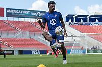 SANDY, UT - JUNE 8: Yunus Musah passes the ball during a training session at Rio Tinto Stadium on June 8, 2021 in Sandy, Utah.