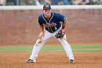Third baseman Zach Miller #1 of the Ole Miss Rebels on defense against the Virginia Cavaliers at the Charlottesville Regional of the 2010 College World Series at Davenport Field on June 5, 2010, in Charlottesville, Virginia.  The Cavaliers defeated the Rebels 13-7.  Photo by Brian Westerholt / Four Seam Images