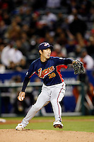Yasuhiko Yabuta of Japan during World Baseball Championship at Angel Stadium in Anaheim,California on March 14, 2006. Photo by Larry Goren/Four Seam Images