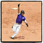 #OTD On This Day, May 28, 2017, Sky Overton (17) of the Furman Paladins raised his hand and shouted as he rounded second base with a go-ahead home run in a game against the UNC Greensboro Spartans as part of the Southern Conference Championship series at Fluor Field at the West End in Greenville, South Carolina. Furman won, 6-4. (Tom Priddy/Four Seam Images) #OnThisDay #MissingBaseball #nobaseball #stayathome #Baseball #AloneTogether