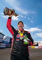 Jul 21, 2019; Morrison, CO, USA; NHRA pro stock driver Greg Anderson celebrates after winning the Mile High Nationals at Bandimere Speedway. Mandatory Credit: Mark J. Rebilas-USA TODAY Sports