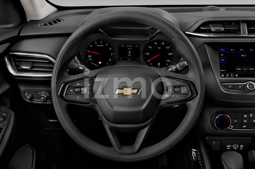 Steering wheel view of a 2021 Chevrolet Trailblazer LT 5 Door SUV