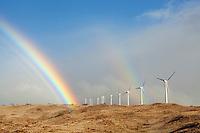 A double rainbow and wind turbines at Ma'alaea, Maui.