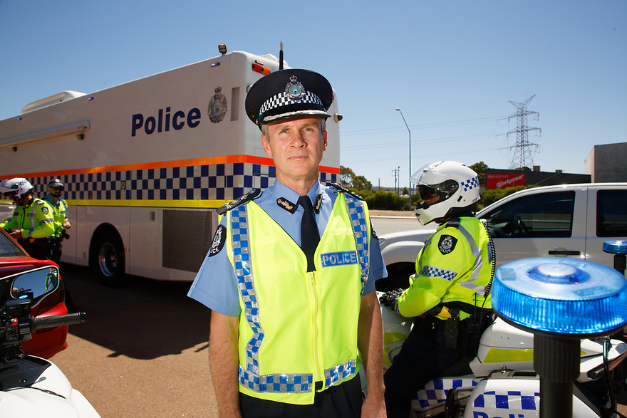 Launch of the WA Police Christmas traffic campaign at a traffic stor in Midland State Trafiic Commander Scott Higgins.  photo by Trevor Collens