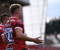 30th August 2020; Kingsholm Stadium, Gloucester, Gloucestershire, England; English Premiership Rugby, Gloucester versus Leicester Tigers; Ollie Thorley of Gloucester celebrates scoring the second try of the match