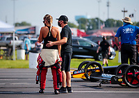 Aug 9, 2020; Clermont, Indiana, USA; NHRA top fuel driver Leah Pruett (left) with boyfriend Tony Stewart during the Indy Nationals at Lucas Oil Raceway. Mandatory Credit: Mark J. Rebilas-USA TODAY Sports