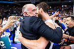 Real Madrid's player Sergio Rodriguez with the coach Pablo Laso during the celebration of the championship at Barclaycard Center in Madrid. June 20, 2016. (ALTERPHOTOS/BorjaB.Hojas)