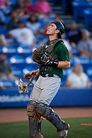 Daytona Tortugas catcher Tyler Stephenson (30) tracks a pop up during a game against the St. Lucie Mets on August 3, 2018 at First Data Field in Port St. Lucie, Florida.  Daytona defeated St. Lucie 3-2.  (Mike Janes/Four Seam Images)