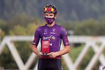 Jetse Bol (NED) Burgos BH most aggressive rider from yesterday's stage at sign on before the start of Stage 17 of La Vuelta d'Espana 2021, running 185.8km from Unquera to Lagos de Covadonga, Spain. 1st September 2021.    <br /> Picture: Luis Angel Gomez/Photogomezsport   Cyclefile<br /> <br /> All photos usage must carry mandatory copyright credit (© Cyclefile   Luis Angel Gomez/Photogomezsport)