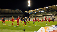Red flames pictured during the warm up before a friendly female soccer game between the national teams of Belgium , called the Red Flames and The Netherlands , called the Oranje Leeuwinnen in a pre - bid tournament called Three Nations One Goal with the national teams from Belgium , The Netherlands and Germany towards a bid for the hosting of the 2027 FIFA Women's World Cup , on Thursday 18 th of February 2021  in Brussels , Belgium . PHOTO SPORTPIX.BE | SPP | SEVIL OKTEM