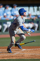 Zach Reks (40) of the Kentucky Wildcats starts down the first base line during the game against the North Carolina Tar Heels at Boshmer Stadium on February 17, 2017 in Chapel Hill, North Carolina.  The Tar Heels defeated the Wildcats 3-1.  (Brian Westerholt/Four Seam Images)
