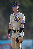 Western Carolina Catamounts third baseman Justice Bigbie (7) during the game against the Saint Joseph's Hawks at TicketReturn.com Field at Pelicans Ballpark on February 23, 2020 in Myrtle Beach, South Carolina. The Hawks defeated the Catamounts 9-2. (Brian Westerholt/Four Seam Images)