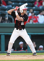 First baseman Jonathan Hester (10) of the Georgia Bulldogs in a game against the Furman Paladins on Wednesday, March 2, 2011, at Fluor Field in Greenville, S.C.  Photo by Tom Priddy / Four Seam Images