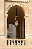 Le Grand Theatre theatre and opera house on Place De La Comedie. Detail. Gold plated hanging lamp. Bordeaux city, Aquitaine, Gironde, France