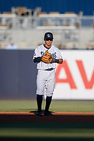 Tampa Tarpons second baseman David Metzgar (4) during a Florida State League game against the St. Lucie Mets on April 10, 2019 at George M. Steinbrenner Field in Tampa, Florida.  St. Lucie defeated Tampa 4-3.  (Mike Janes/Four Seam Images)