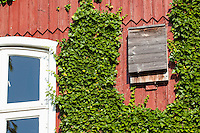 Fledermaus-Kasten, Fledermauskasten, selbst gebauter Kasten für Fledermäuse an einer Fassade, Haus, Schuppen, Nisthilfe für Fledermäuse, Nistkasten, Fledermaus-Nistkasten, Fledermausschutz, Fledermaus-Schutz, Bat castes, bat box, box for bats in a facade, house, scales, nesting help to bats, nesting box, bat nesting box, bat protection, bat-protection