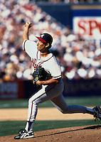 Dennis Martinez of the Atlanta Braves participates in a baseball game at Qualcomm Stadium during the1998 season in San Diego, California. (Larry Goren/Four Seam Images)