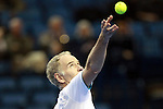 USA's John McEnroe gets ready to serve during the HSBC Tennis Cup series at First Niagara Center in Buffalo, NY on October 22, 2011