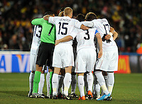 The USA huddle before the game. Brazil defeated USA 3-2 in the FIFA Confederations Cup Final at Ellis Park Stadium in Johannesburg, South Africa on June 28, 2009.
