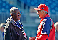 11 October 2012: Washington Nationals beat reporter for MLB.com Bill Ladson chats with manager Davey Johnson prior to Postseason Playoff Game 4 of the National League Divisional Series against the St. Louis Cardinals at Nationals Park in Washington, DC. The Nationals defeated the Cardinals 2-1 on a 9th inning, walk-off solo home run by Jayson Werth, tying the Series at 2 games apiece. Mandatory Credit: Ed Wolfstein Photo
