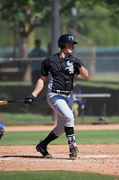 Chicago White Sox first baseman Gavin Sheets (25) follows through on his swing during an Instructional League game against the Los Angeles Dodgers on September 30, 2017 at Camelback Ranch in Glendale, Arizona. (Zachary Lucy/Four Seam Images)