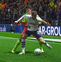 Preston North End's Tom Barkhuizen battles with Manchester City's Eric Garcia<br /> <br /> Photographer Dave Howarth/CameraSport<br /> <br /> The Carabao Cup Third Round - Preston North End v Manchester City - Tuesday 24th September 2019 - Deepdale Stadium - Preston<br />  <br /> World Copyright © 2019 CameraSport. All rights reserved. 43 Linden Ave. Countesthorpe. Leicester. England. LE8 5PG - Tel: +44 (0) 116 277 4147 - admin@camerasport.com - www.camerasport.com