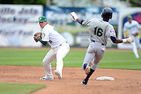 Beloit Snappers shortstop Daniel Robertson #18 attempts to turn a double play as Candido Pimentel #16 slides in during a game against the Cedar Rapids Kernels on May 23, 2013 at Pohlman Field in Beloit, Wisconsin.  Beloit defeated Cedar Rapids 5-3.  (Mike Janes/Four Seam Images)