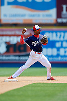 Reading Fightin Phils shortstop Malquin Canelo (6) throws to first base during the first game of a doubleheader against the Portland Sea Dogs on May 15, 2018 at FirstEnergy Stadium in Reading, Pennsylvania.  Portland defeated Reading 8-4.  (Mike Janes/Four Seam Images)