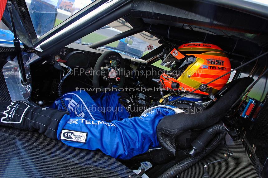 Scott Pruett in the cockpit of the #01 CGR Lexus/Riley.