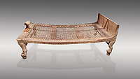 "Ancient Egyptian bed delonging to Kha , tomb of Kha, Theban Tomb 8 , mid-18th dynasty (1550 to 1292 BC), Turin Egyptian Museum. <br /> <br /> According to excavator Shciaparelli "" the beds were found in Kcha's tomb also. The larger one, his own, was found in the antechamber."" Egyptians believed that in the Afterlife they would require the same comforts as they enjoyed in life so beds and many other worldly requirements were put into their tombs."