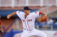 Salem Red Sox relief pitcher Jared Oliver (15) delivers a pitch during the first game of a doubleheader against the Potomac Nationals on June 11, 2018 at Haley Toyota Field in Salem, Virginia.  Potomac defeated Salem 9-4.  (Mike Janes/Four Seam Images)