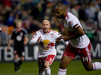 Luke Rodgers (9) of the New York Red Bulls celelbrates the goal of teammate Thierry Henry during the game at RFK Stadium in Washington, DC.  D.C. United lost to the New York Red Bulls, 4-0.