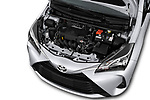Car Stock 2018 Toyota Yaris Y-oung 3 Door Hatchback Engine  high angle detail view