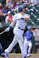 Iowa Cubs second baseman Ian Happ (8) swings during a  game against the Round Rock Express at Principal Park on April 16, 2017 in Des  Moines, Iowa.  The Cubs won 6-3.  (Dennis Hubbard/Four Seam Images)