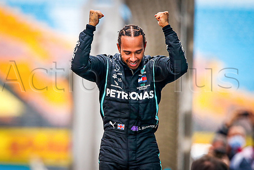 15th November 2020; Istanbul Park, Istanbul, Turkey; FIA Formula One World Championship 2020, Grand Prix of Turkey, Race Day; The winner and for the 7th time Formula 1 World Champion Lewis Hamilton GB 44 , Mercedes AMG Petronas F1 Team celebrates in parc ferme