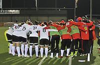 Belgium - Austria : peptalk voor het oostenrijkse team voor de wedstrijd.foto DAVID CATRY / Vrouwenteam.be
