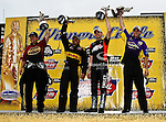 Andrew Hines (Pro Stock Motorcycle), Jeff Arend (Funny Car), Vincent Nobile (Pro Stock) and Del Worsham (Top Fuel) in the winners circle after winning the O'Reilly Auto Parts Spring Nationals at the Royal Purple Raceway in Baytown,Texas.