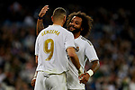 Karim Benzema (L) and Marcelo Vieira (R) of Real Madrid celebrate goal during La Liga match between Real Madrid and CD Leganes at Santiago Bernabeu Stadium in Madrid, Spain. October 30, 2019. (ALTERPHOTOS/A. Perez Meca)
