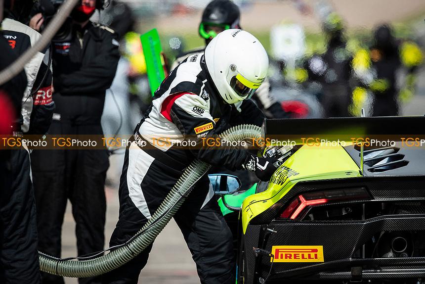 Re fuelling Leo Machitski & Dennis Lind, Lamborghini Huracan GT3 EVO, Barwell Motorsport in the warm ump session during the British GT & F3 Championship on 11th July 2021
