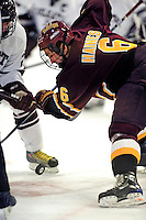 3 January 2009: Ferris State Bulldogs' left wing forward Casey Haines, a Junior from Indiana, PA, in action against the Colgate Raiders during the consolation game of the 2009 Catamount Cup Ice Hockey Tournament hosted by the University of Vermont at Gutterson Fieldhouse in Burlington, Vermont. The two teams battled to a 3-3 draw, with the Bulldogs winning a post-game shootout 2-1, thus placing them third in the tournament...Mandatory Photo Credit: Ed Wolfstein Photo